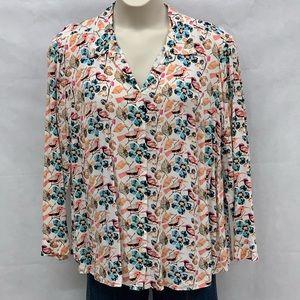 Talbots bird and floral print button down shirt
